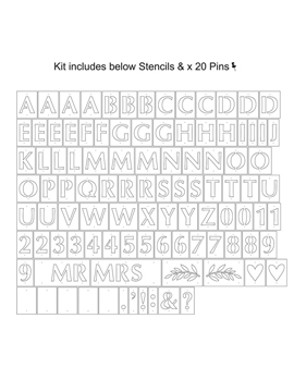Kit Stencil con letras, figuras, símbolos y números