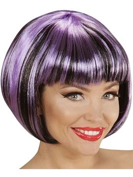 Peluca Corta Negra con Mechas Violetas