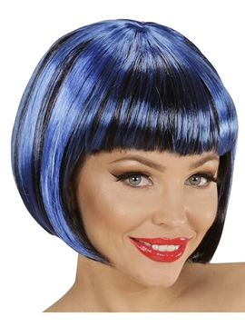 Peluca Corta Negra con Mechas Azules